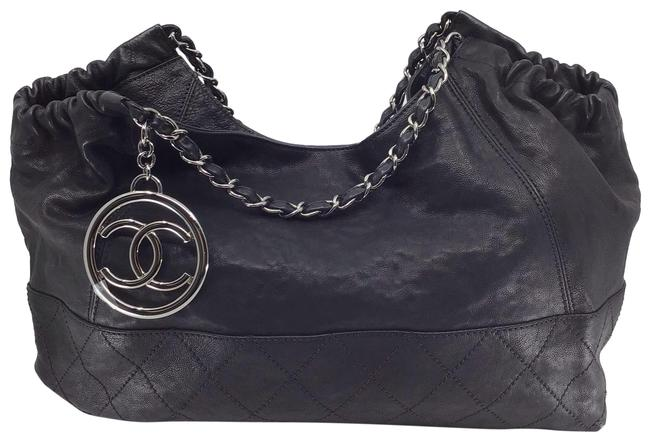 Item - Chain Strap with Large Cc Charm Black Leather Hobo Bag