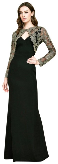 Item - Black/Gold Darya Embroidered Crepe Gown Long Formal Dress Size 2 (XS)