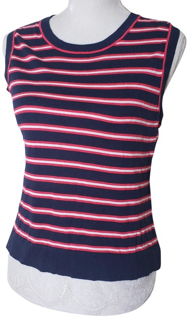 Item - Blue Red White XL Womens Striped Sleeveless Shirt Lace Tank Top/Cami Size 16 (XL, Plus 0x)