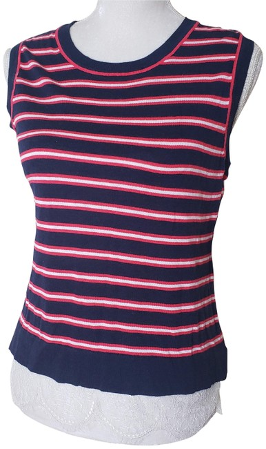 Item - Blue Red White L Womens Striped Sleeveless Shirt Lace Tank Top/Cami Size 12 (L)