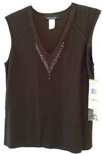 Jones New York Sweater Embellished Top Dark brown, chocolate