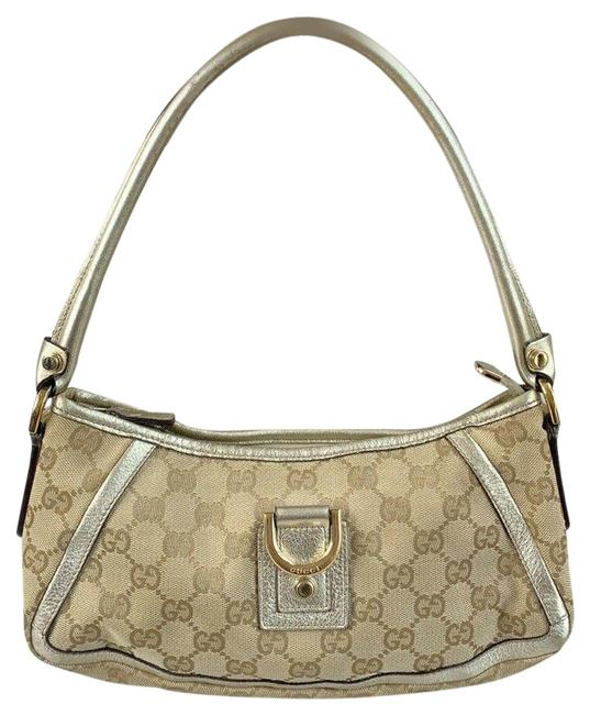 Item - Abbey Leather Small D-ring Beige & Silver Metallic Gg Canvas Shoulder Bag