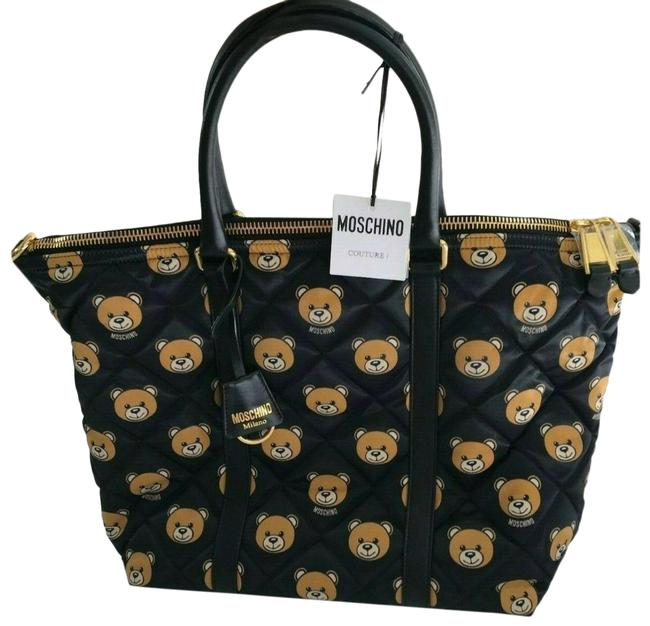 Moschino Aw15 Jeremy Scott Quilted Bear Black Brown Tote Moschino Aw15 Jeremy Scott Quilted Bear Black Brown Tote Image 1