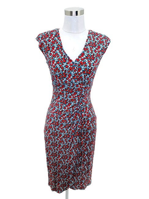 Item - Blue Pink N744 Small Floral Shift V-neck Short Casual Dress Size 4 (S)
