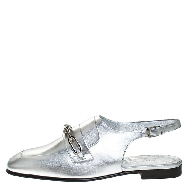 Burberry Silver Leather Cheltown Slingback Flat Sandals Size US 9 Regular (M, B) Burberry Silver Leather Cheltown Slingback Flat Sandals Size US 9 Regular (M, B) Image 1