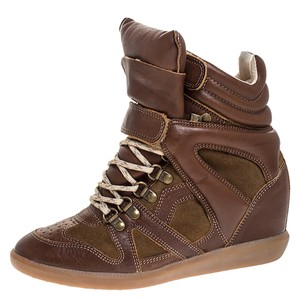 Isabel Marant Leather Suede Wedge Brown Athletic