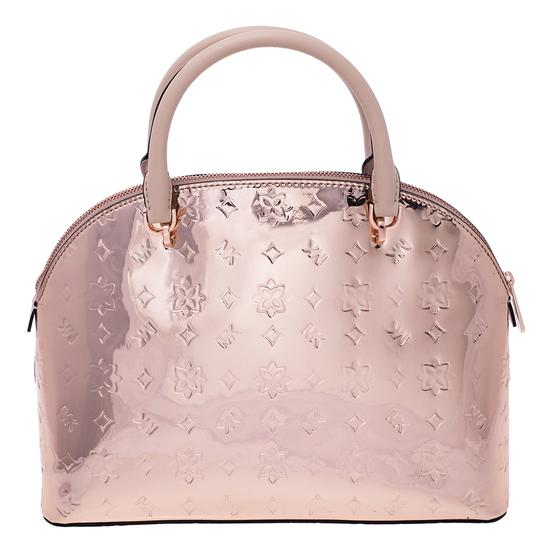 Michael Kors Rose Gold Mirror Emmy Dome Metallic Patent Leather Satchel 26% off retail