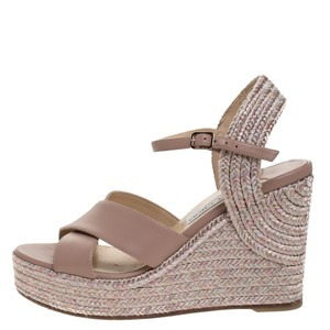 Jimmy Choo Leather Espadrille Pink Sandals