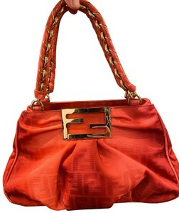 Fendi Canvas Clutch Satchel in Ombre Coral
