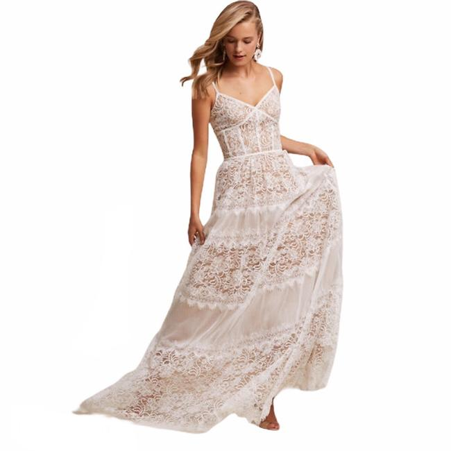 Item - White & Nude Tatiana Strap Lace Gown Long Formal Dress Size 8 (M)