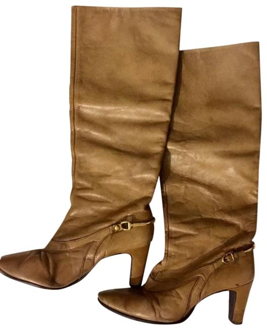 Brown Leather Knee High Heel Fashion Womens 1/2 Made Usa Boots/Booties Size US 8.5 Regular (M, B) Brown Leather Knee High Heel Fashion Womens 1/2 Made Usa Boots/Booties Size US 8.5 Regular (M, B) Image 1