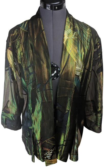 Item - Green Gold Iridescent Sheer Cardigan Size OS (one size)