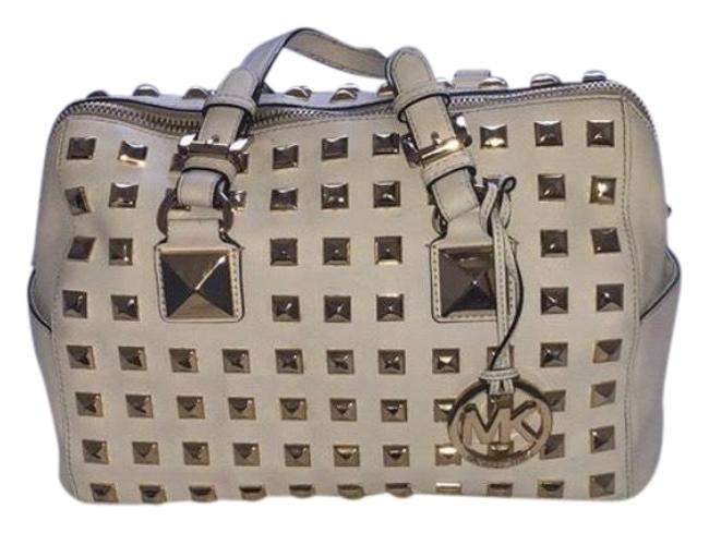 Item - Large Grayson White with Gold Studs Leather and Metal Satchel