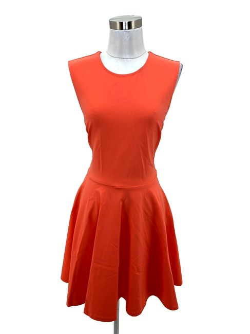 Item - Orange N989 Small Coral Fit Flare Short Formal Dress Size 6 (S)