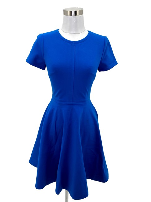 Item - Blue XS N790 Solid Fit Flare Short Work/Office Dress Size 0 (XS)