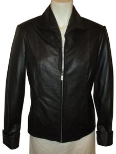 Pamela McCoy Fitted Onm001 black Leather Jacket