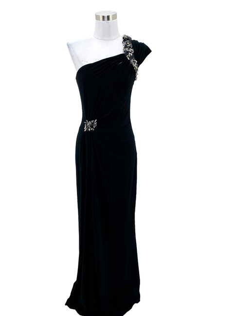 Item - Black N147 Small Solid Beaded One Shoulder Maxi Long Formal Dress Size 4 (S)