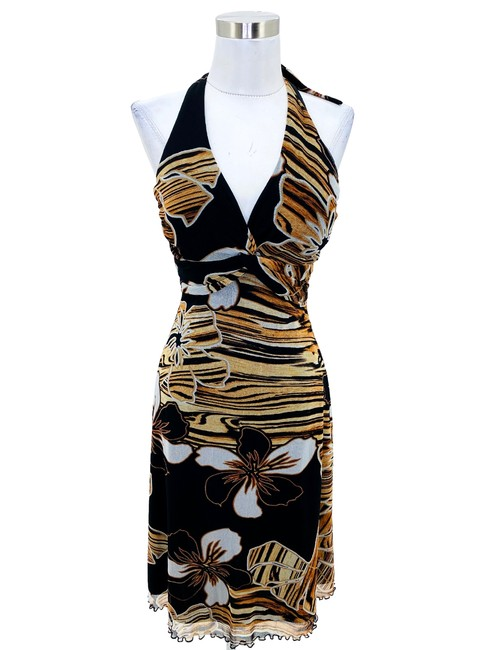 Item - Brown N800 Small Black Floral Halter Fit and Flare Short Cocktail Dress Size 6 (S)