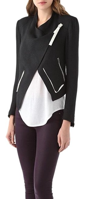 Item - Black and Crepe Cropped with Contrast Trim Jacket Size 2 (XS)