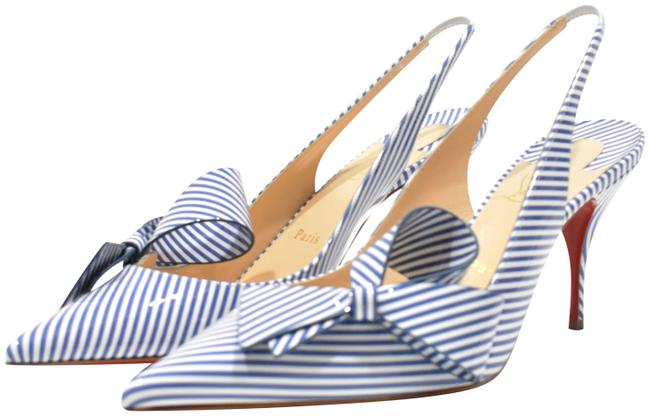 Item - Blue White Clare Nodo Striped Bow Slingback Heels Pumps Size EU 40 (Approx. US 10) Regular (M, B)