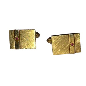 Gold Simulated Ruby Square Cufflinks/Studs