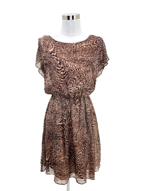 Item - Brown N260 Small 6 Animal Print Silk A-line Short Cocktail Dress Size 4 (S)