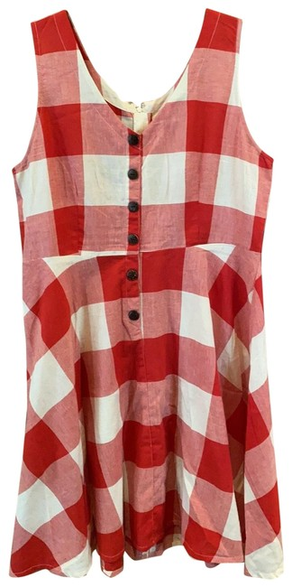 Item - Red and White Check Mid-length Short Casual Dress Size 12 (L)