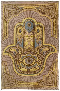 "Brown Zest For Life Hamsa Hand Tapestry 52x80"" Decoration"