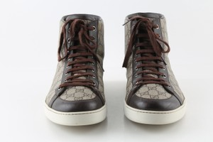 Gucci Brown Men's Gg Supreme Leather Hi-top Sneaker Brown/Beige 322733 Shoes
