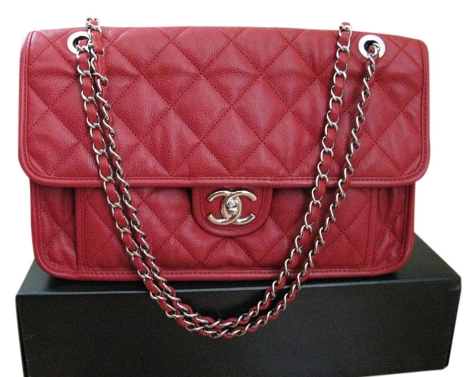 95d3e4930a Chanel Classic Flap Riviera French Jumbo Red Caviar Leather Shoulder ...