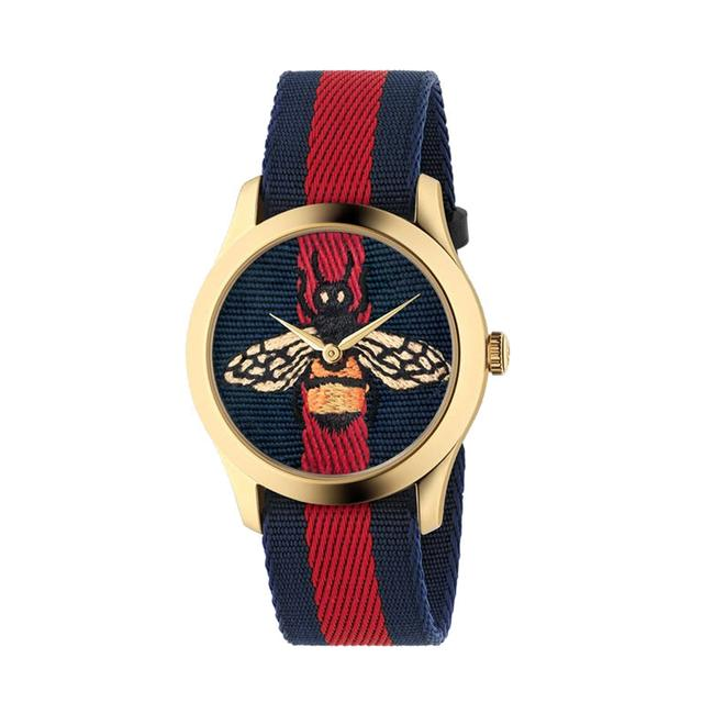 Item - Gold Stainless Red Blue Nylon Strap G Timeless Bee Dial Ya1264061 Watch