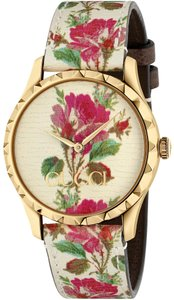 Gucci G-Timeless Leather Floral Blooms Strap Womens Ya1264084