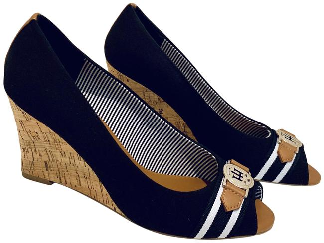Molto bene bene Aceto Occupare  Tommy Hilfiger Navy Blue Cork Open Toe Shoes/Sz:8.5/Nwt Wedges Size US 8.5  Regular (M, B) - Tradesy