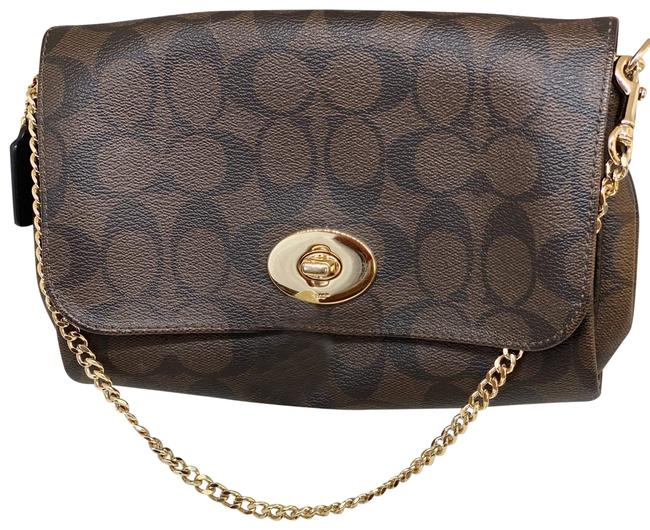 Item - Signature Chain Brown/Gold Leather Cross Body Bag