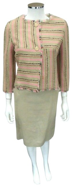 Item - Tan 2pc Wool/Linen Striped Jacket Fringe Fr34 Skirt Suit Size 2 (XS)