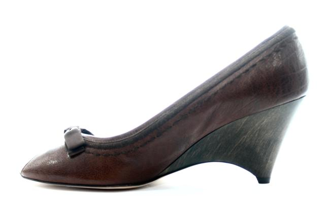 Item - Brown Leather Peep Toe Wedge New with Tags Pumps Size US 11 Regular (M, B)