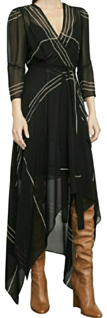 Item - Black Wrap Front Handkerchief Long Night Out Dress Size 6 (S)