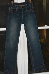Bebe Studded Rhinestone Bootcut Straight Leg Jeans-Medium Wash