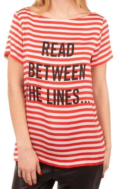Item - Red Read Between The Lines Tee Shirt Size 12 (L)
