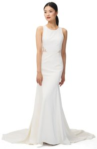 Jenny Yoo Ivory Reid Lace and Crepe Gown Modern Wedding Dress Size 12 (L)