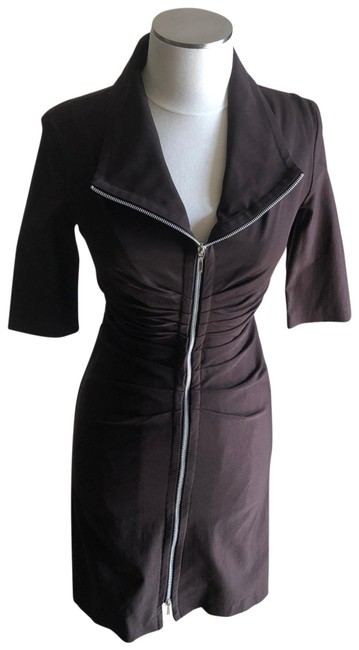 Joseph Ribkoff Dark Brown Double Zip-front Mid-length Work/Office Dress Size 6 (S) Joseph Ribkoff Dark Brown Double Zip-front Mid-length Work/Office Dress Size 6 (S) Image 1