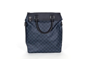 Louis Vuitton Coated Canvas Leather Silver Hardware Zip Top Suede Tote in Blue