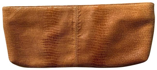 Item - Brown Snakeskin Leather Clutch