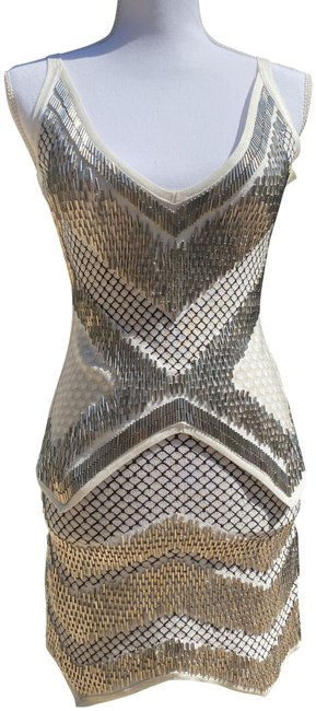 Item - White/Silver Juliet Bandage Hev2999 Short Night Out Dress Size 6 (S)