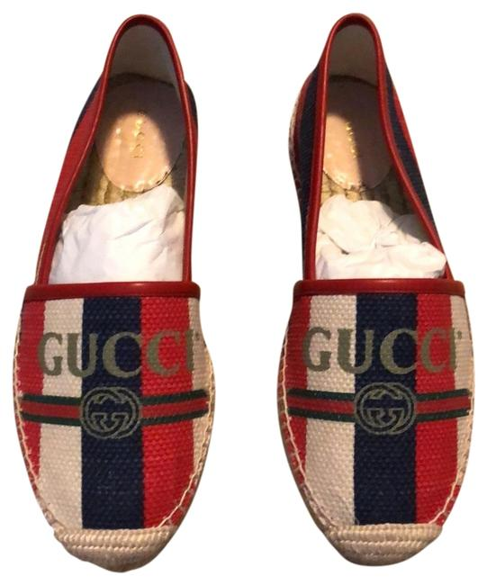 Item - Multicolor Leather-trimmed Striped Logo-print Canvas Espadrilles Flats Size US 7.5 Narrow (Aa, N)