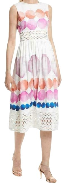 Item - White Blue Pink Serinah Stretch Cotton Us Mid-length Work/Office Dress Size 2 (XS)