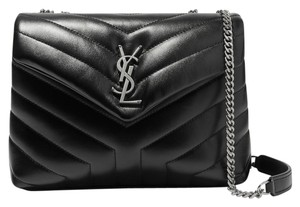 Saint Laurent Monogram Lou Lou Small Quilted Satchel in Black