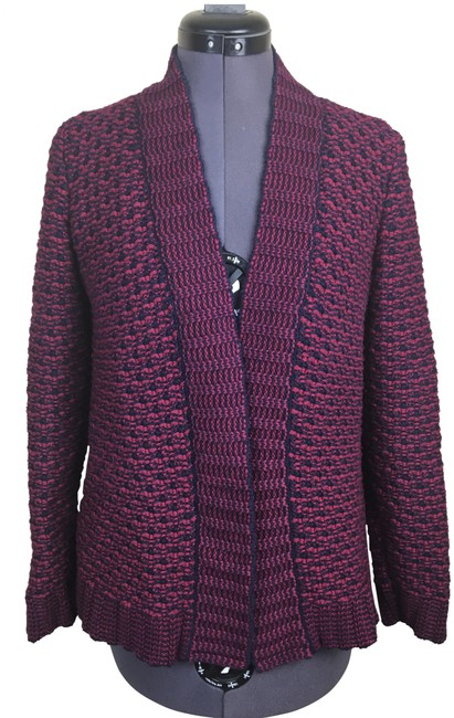 Item - Red Blue Thick Knit Cardigan Size Petite 6 (S)