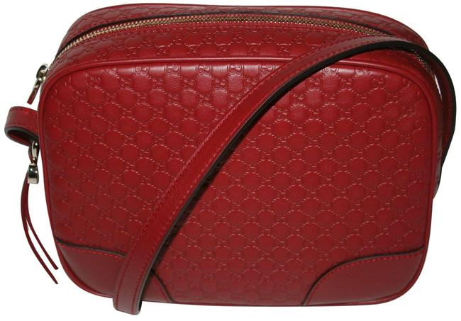 Item - ssima Red Micro Gg Leather Messenger Bag