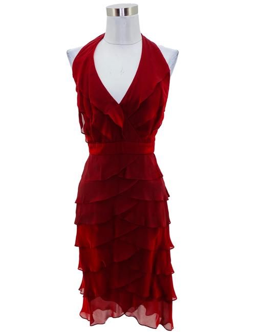 Item - Red N1077 Designer Medium Ruffle Halter Long Formal Dress Size 8 (M)
